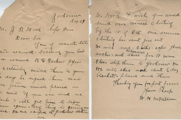Letter from W.H. McMillan