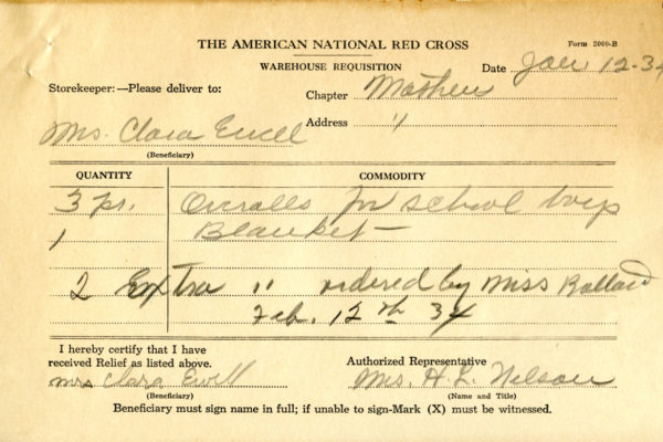 Requisition for Mrs. Clara Ewell