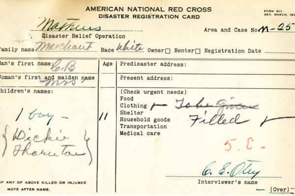 Registration Card for Dickie Thornton