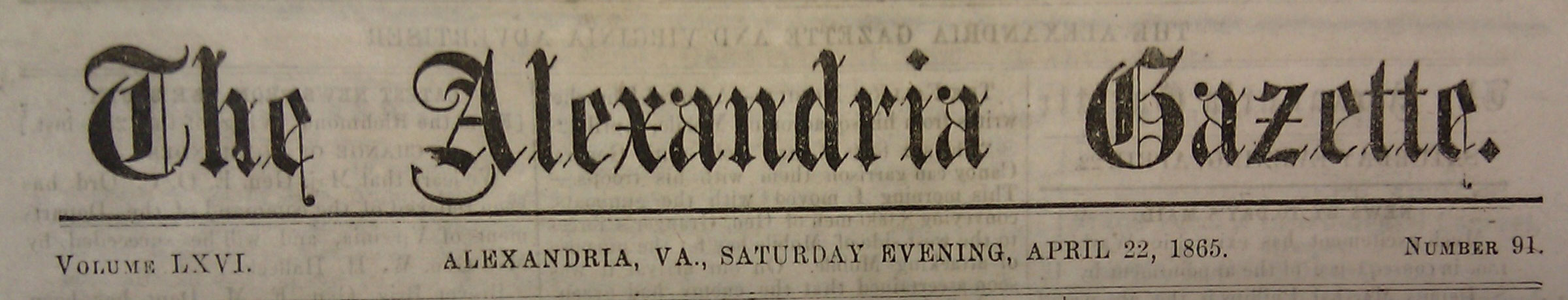 Newspaper Accounts on the Death of Lincoln