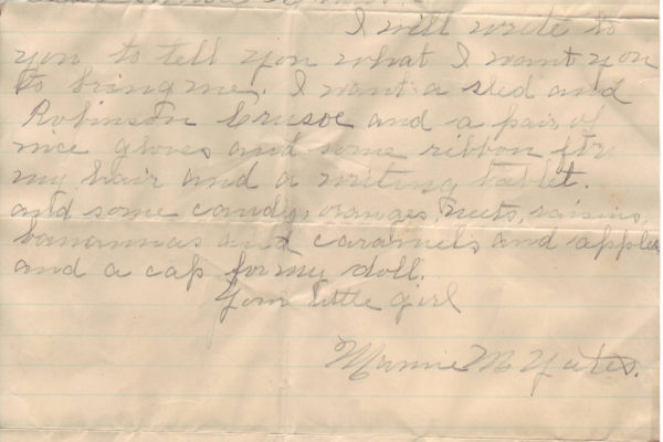 Letter from Mamie Yates pg. 1