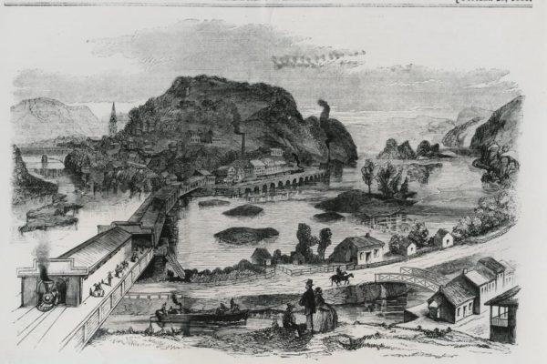 Engraving of town