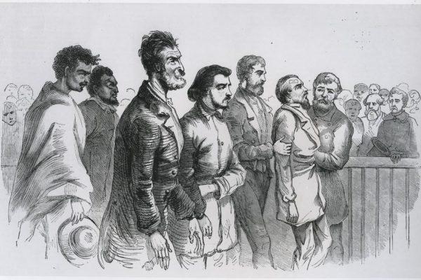 Engraving of John Brown and prisoners