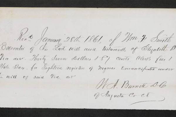Receipt for freed slaves