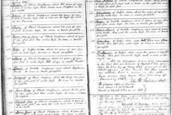 Register of Via's freed slaves