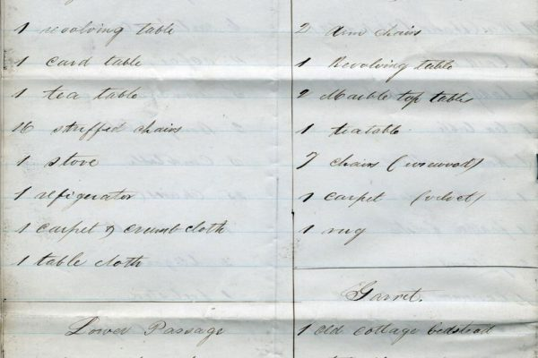 First page of Inventory of the Executive Mansion