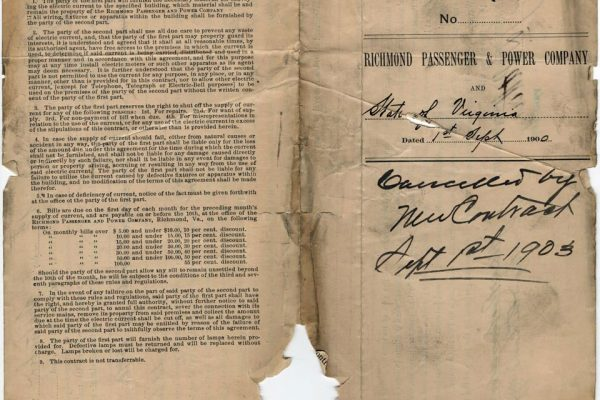 Contract with Richmond Passenger and Power Company