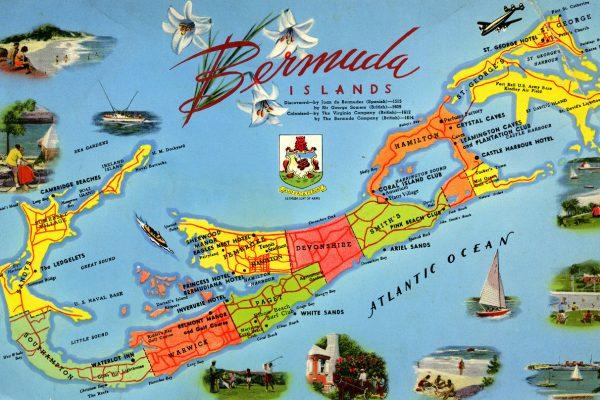 Postcard showing location in Bermuda
