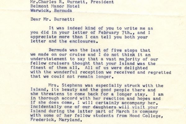 Letter from Lieutenant Governor A.E.S. Stephens