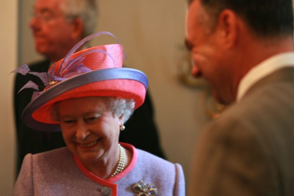 Queen Elizabeth II and Gov. Tim Kaine