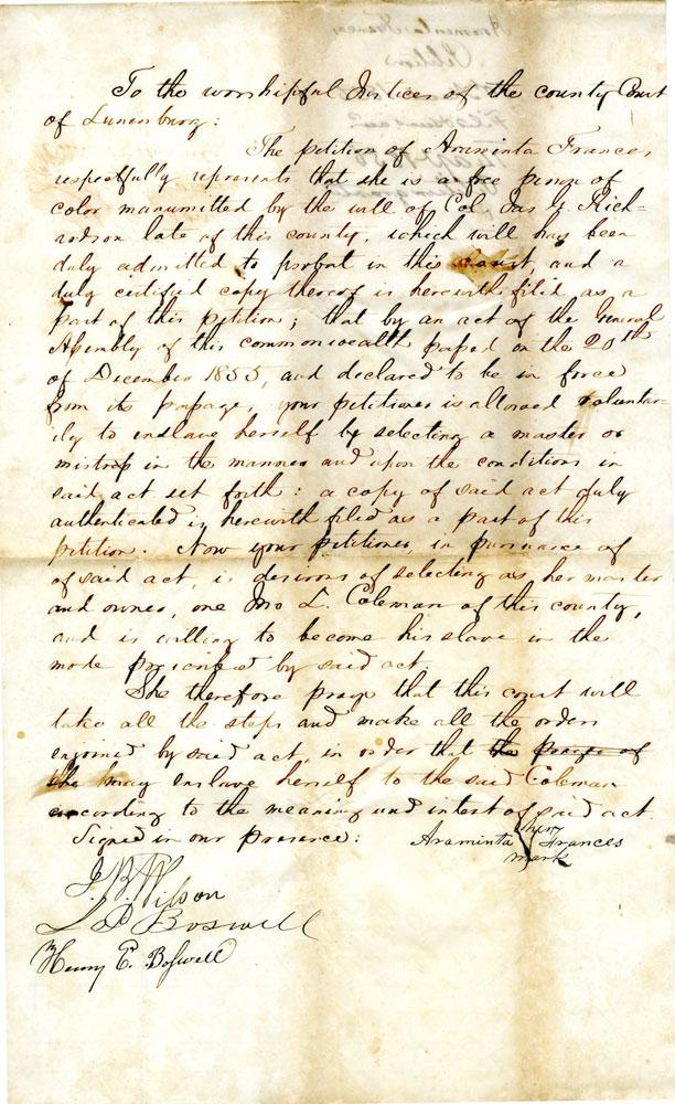 The Petition of Araminta Frances