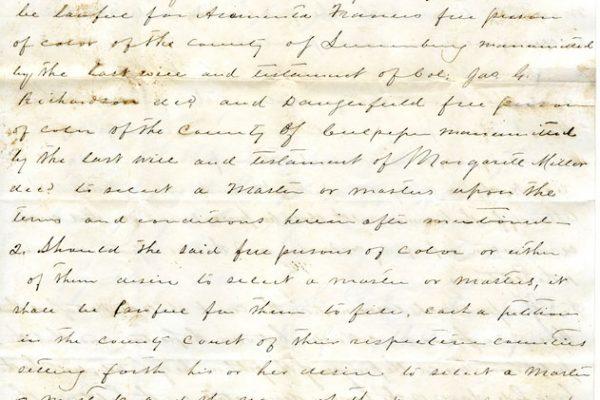 Act for voluntary enslavement of Araminta Frances