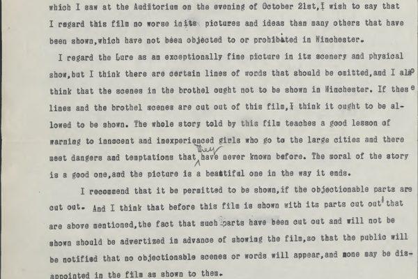 Letter from J.W. Sibert