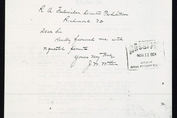 Letter from J.W. Witten