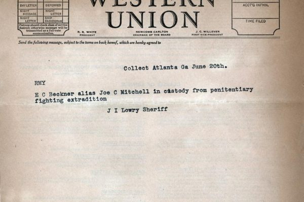 Telegram from Sheriff J.I. Lowry