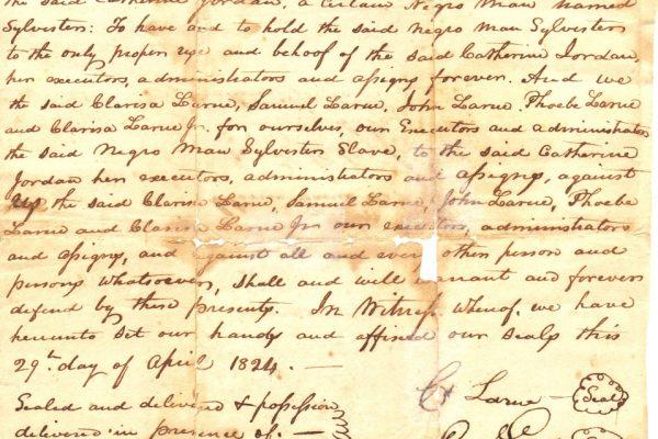 Deed of Catherine Jordan's purchase