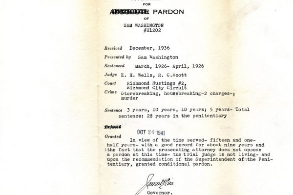 Sam Washington Pardon File