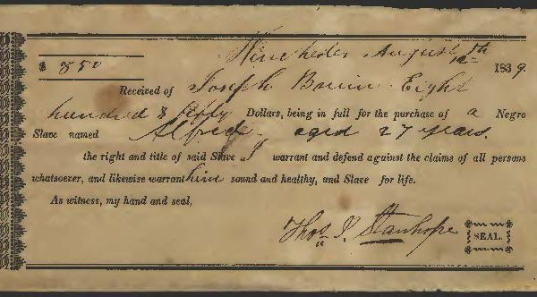Receipt for Slave purchase