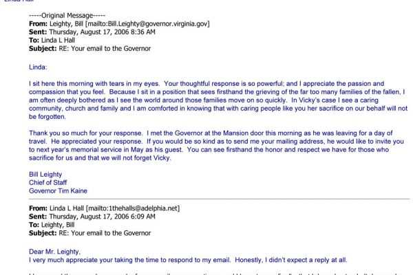 Email to the Governor
