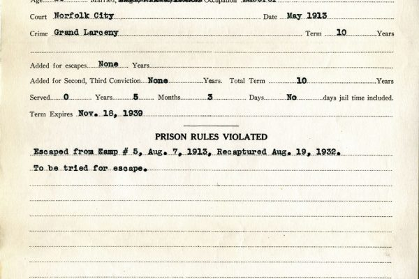 Prison Record of Carr
