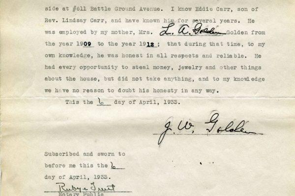 Affidavit of J.W. Golden