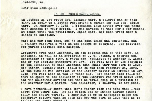 Letter from A.W. Sapp
