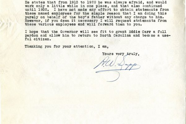 Letter from A.W. Sapp pg. 2