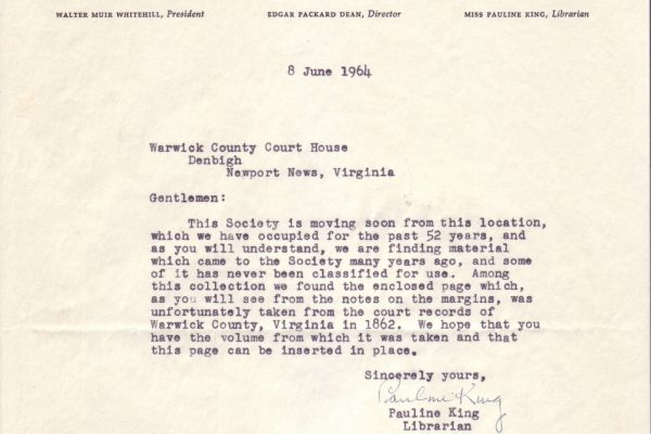 Letter from New England Genealogical Society