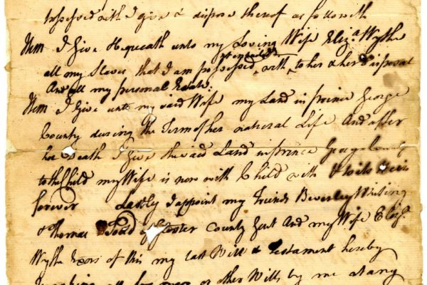 Will of Nathaniel Wythe