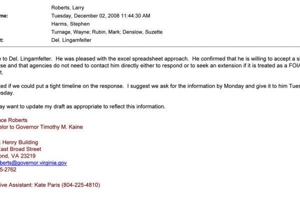 Del. Lingamfelter email