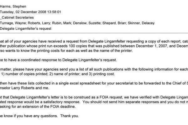 Lingamfelter's request