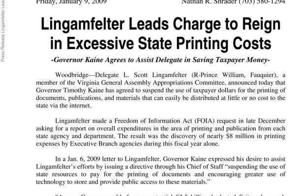 Lingamfelter press release