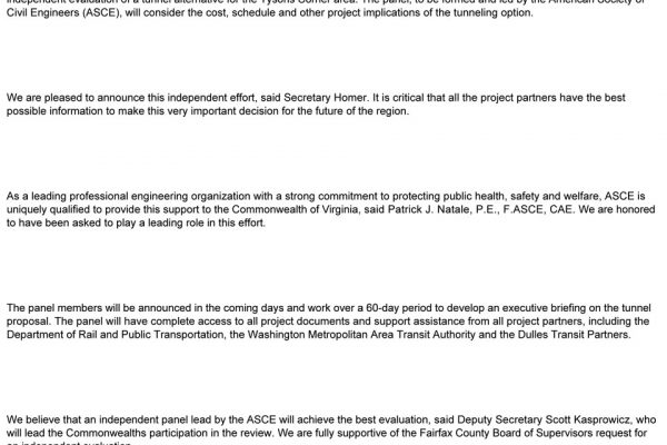 Dulles Tunnel Review Panel