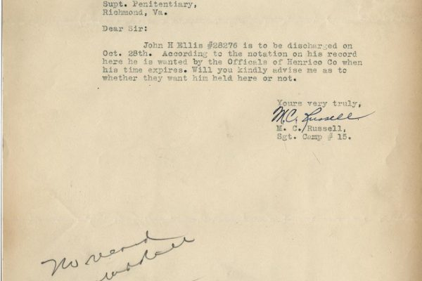 Letter from Sgt. M.C. Russell