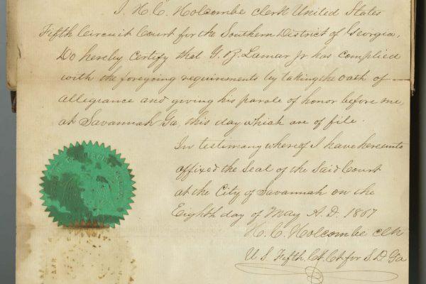 Certification of Lamar Jr.'s oath