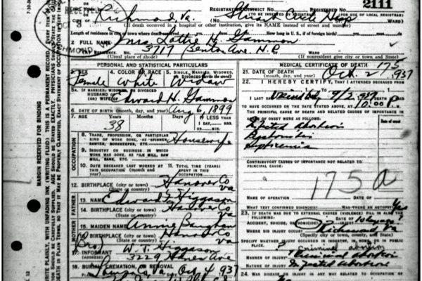 Death Certificate of Gammon
