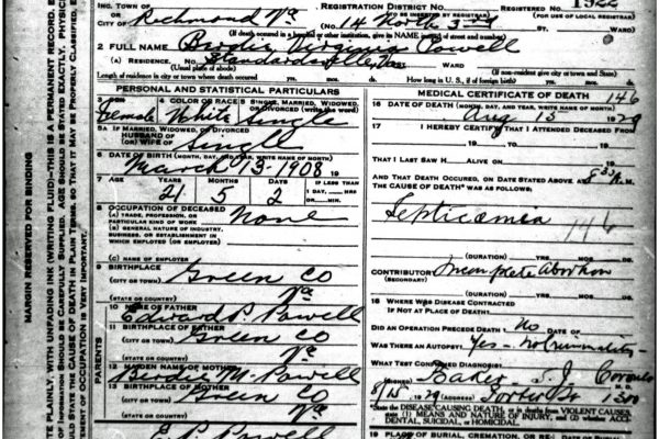 Death Certificate of Powell