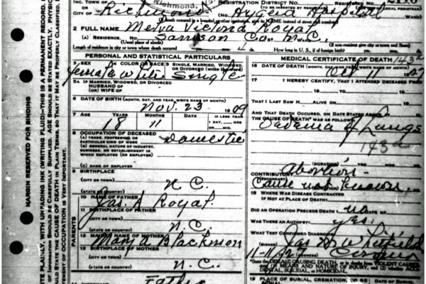 Death Certificate of Royal