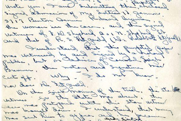 Letter from Juliette Fitzgerald