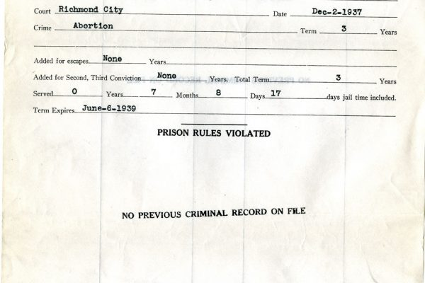 Prison Record of R.S. Fitzgerald