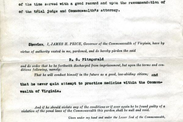 Pardon of R.S. Fitzgerald