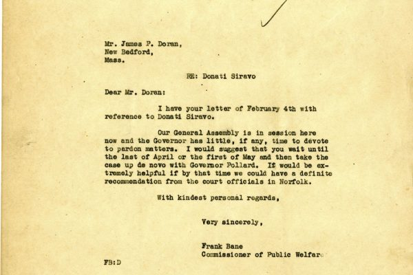 Letter from Frank Bane