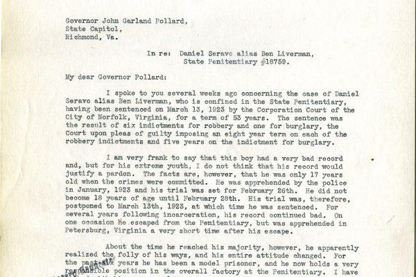 Letter from J. Gary