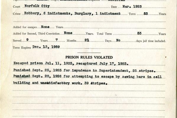 Prison record of Liverman