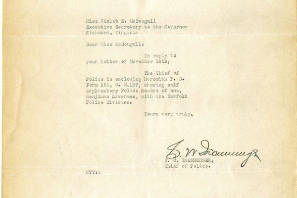 Letter from S.W. Ironmonger