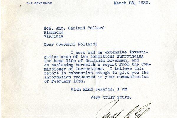 Letter from Gov. Ely