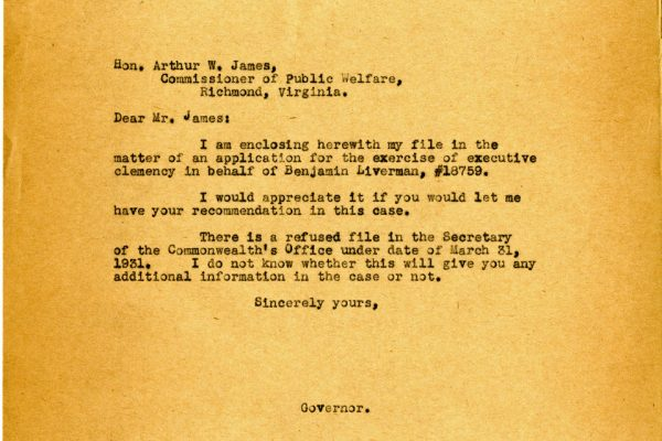 Letter from Gov. Pollard