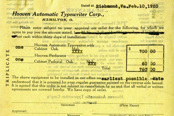 Sales Order for Typewriter
