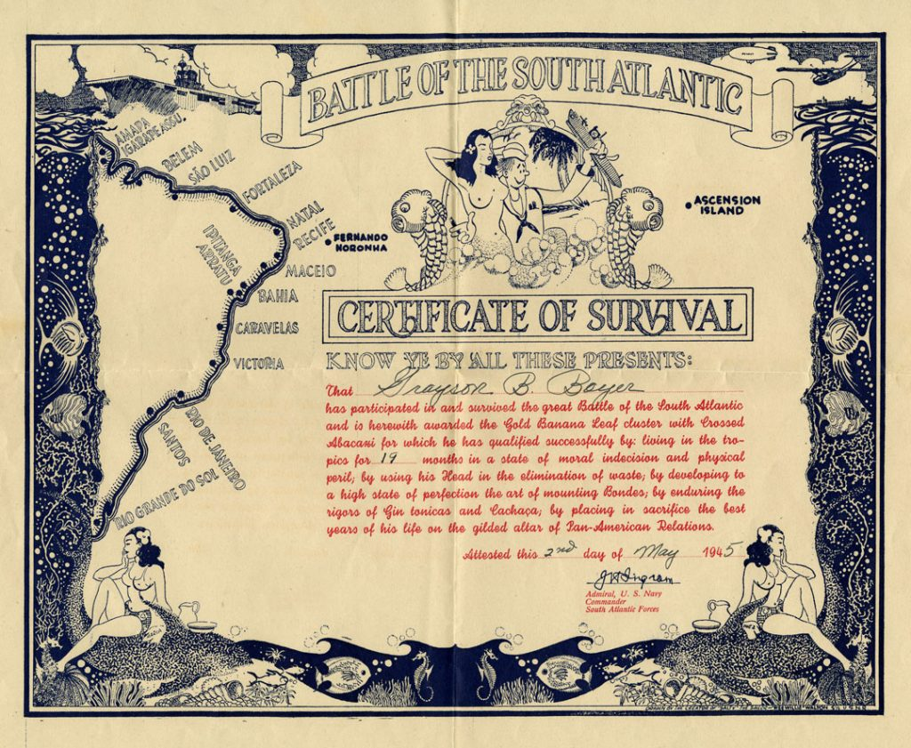 Certificate of Survival issued to Grayson B. Boyer, 2 May 1945.