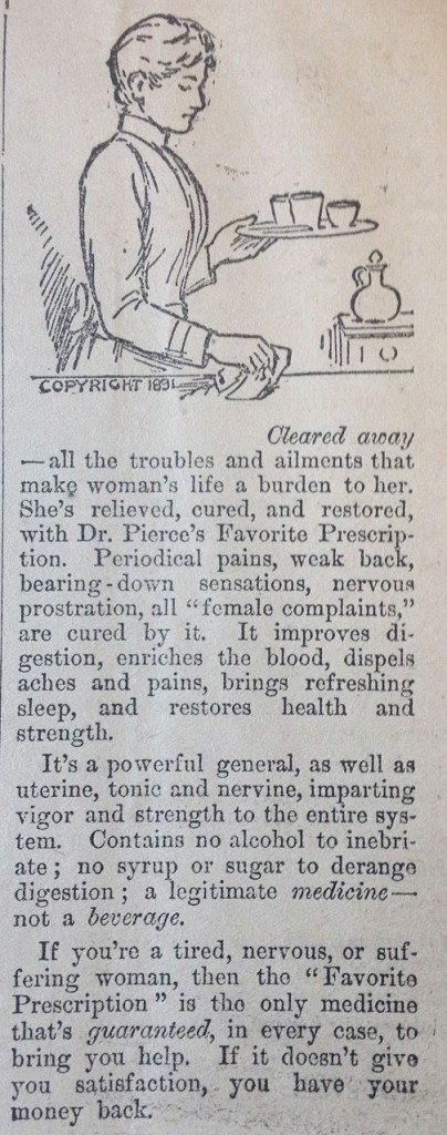 """Reading between the lines: the Comstock Act and ads for the treatment of """"female complaints"""" from the Fairfax Herald."""